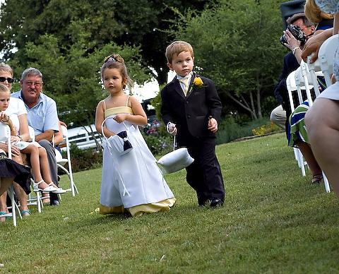 An small outdoor wedding ceremony. Photo courtesy of Treva Tribit.