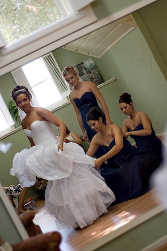 Bride and bridesmaids. An intimate Texas wedding. Photo by Treva Tribit
