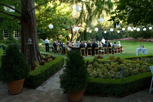 Intimate wedding reception in the gardens of a gorgeous Tudor estate in the hills above Napa Valley. Photo courtesy of Susan Adler Photography