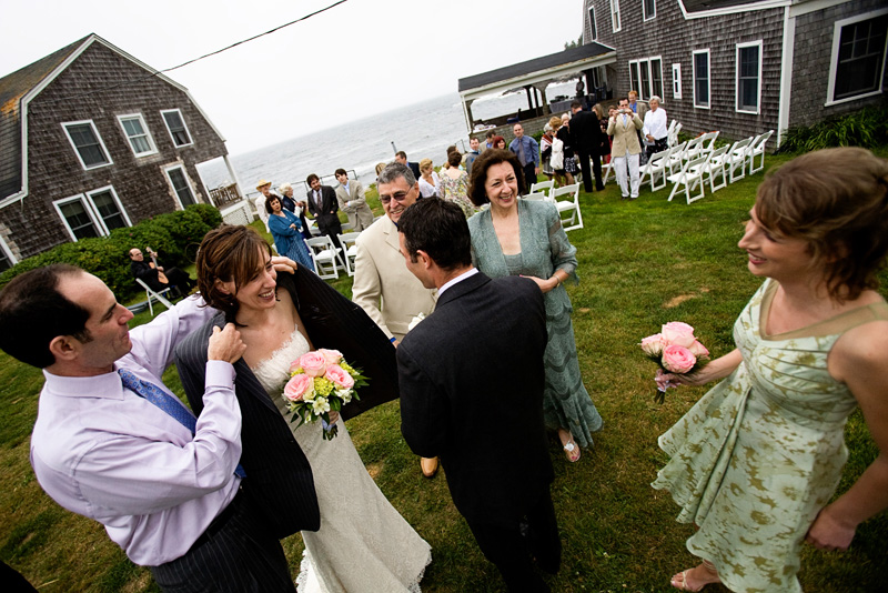 After outdoor ceremony at Driftwood Inn Maine