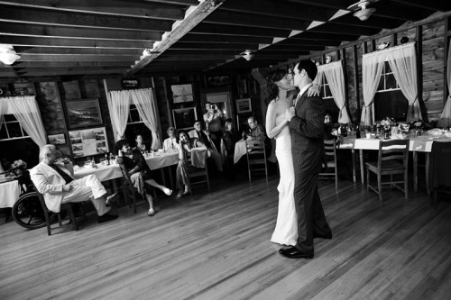 indoor wedding reception at driftwood inn maine