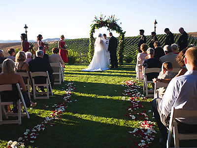 winery weddings outdoor ceremony at Calloway Winery