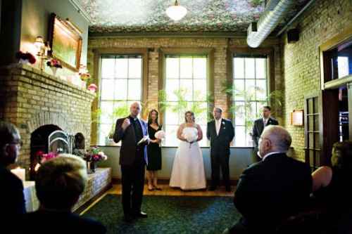 restaurant wedding ceremony at WA Frost, St. Paul Minnesota