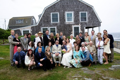 guests at outdoor wedding at driftwood inn maine