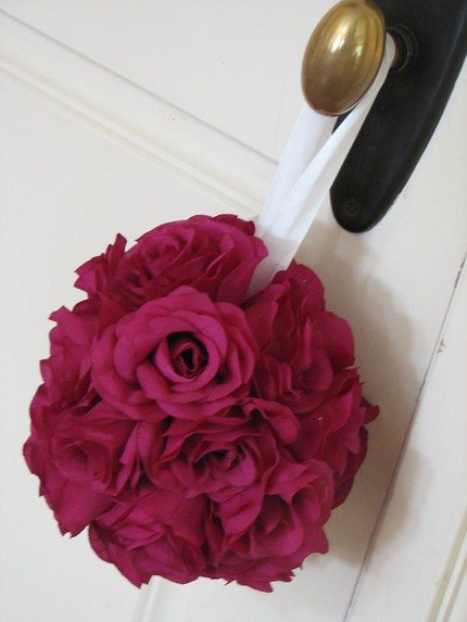 wedding pomander made from silk flowers
