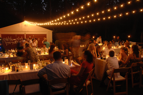 outdoor diy wedding reception at night