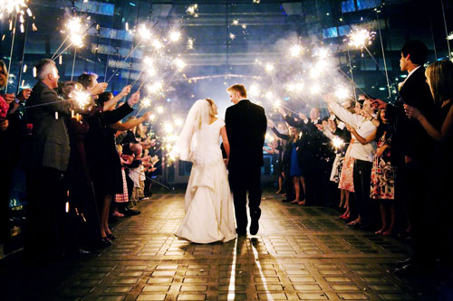 wedding sparkler exit behind