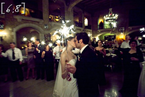 wedding sparklers kissing