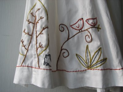 diy wedding dress with embroidered life story