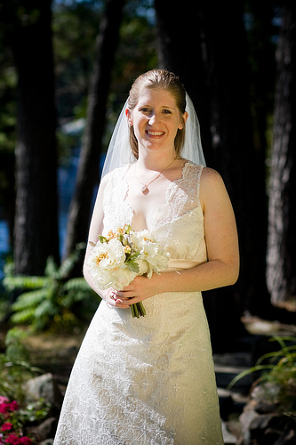 outdoor bride in forest