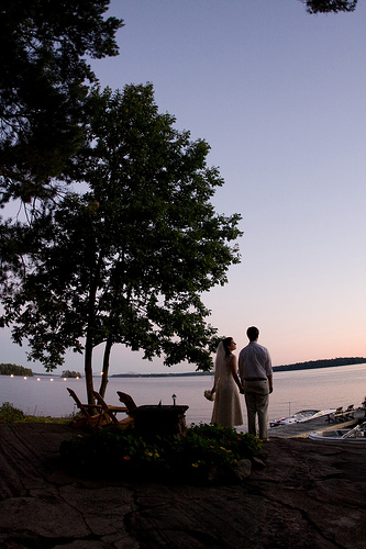 bride and groom sunset on lake