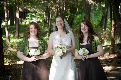 bridesmaids outdoor wedding wearing brown and green