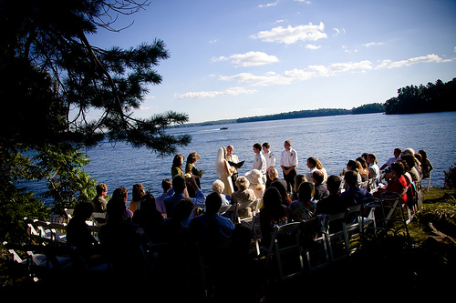 outdoor wedding ceremony lake muskoka