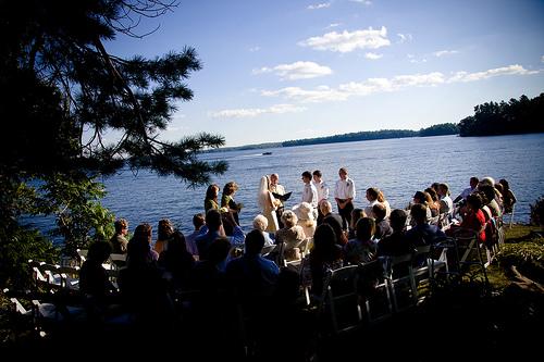 outdoor wedding ceremony lake muskoka