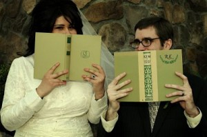 library themed wedding photo