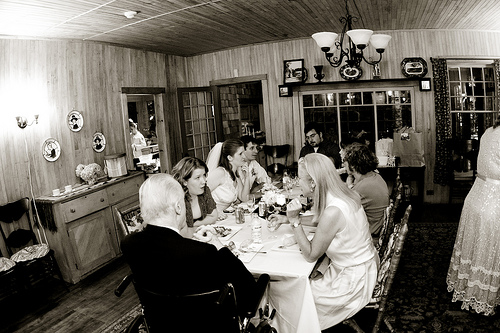 wedding reception inside cottage