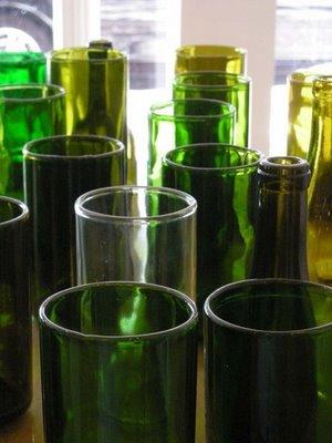 recycled vases made from wine bottles