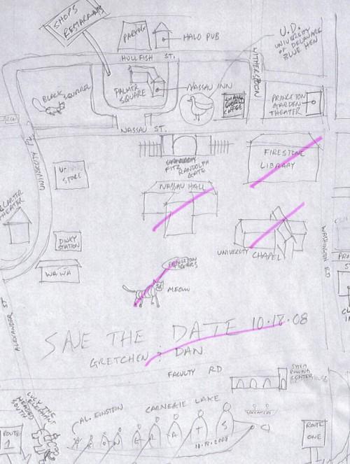 hand drawn wedding map sketch
