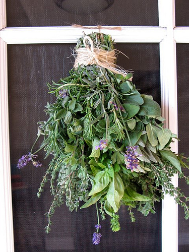a hanging herb bouquet