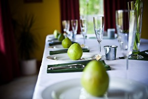 pears on wedding tables