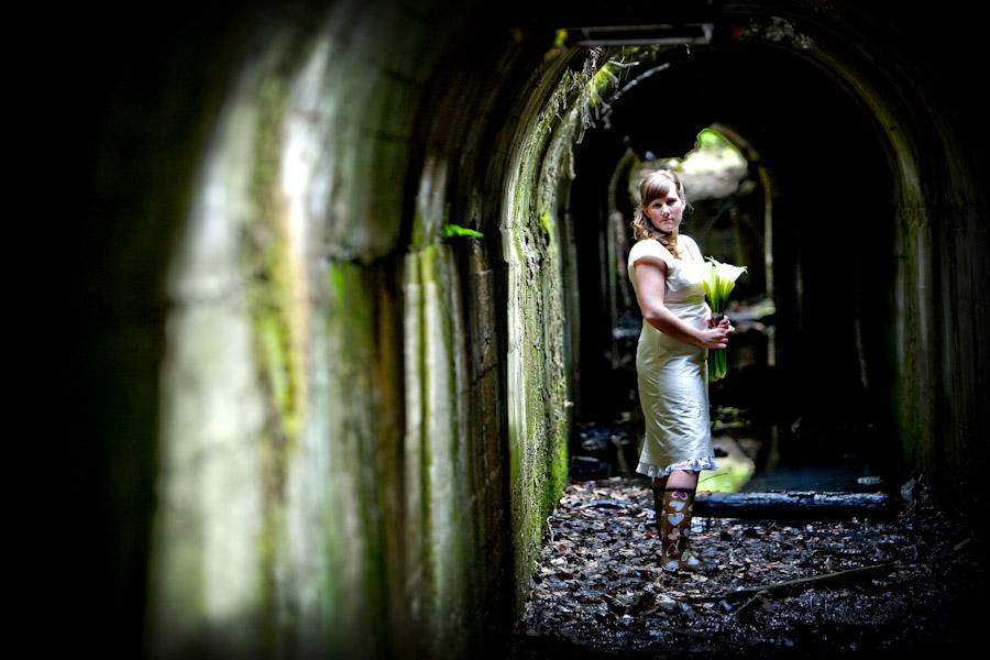 bride in tunnel