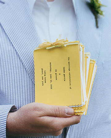 diy wedding programs yellow mini programs with typewriter font