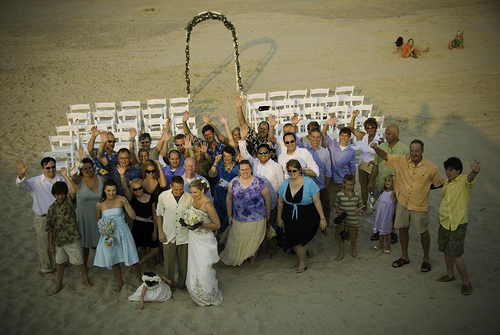 wedding guests on the beach in nc