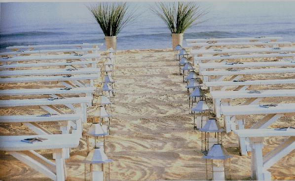 benches for beach ceremony