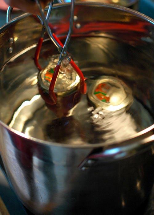 canning homemade jam - submerging jars