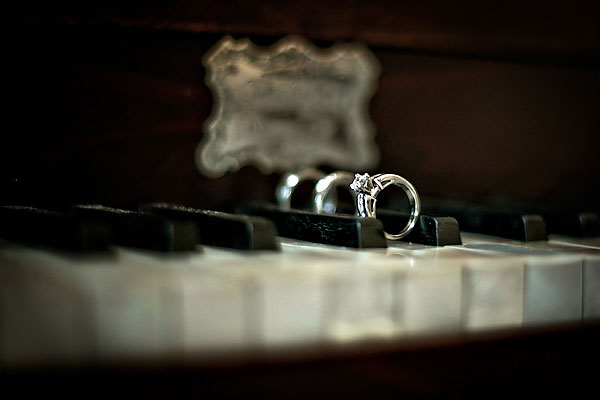 wedding rings on grand piano