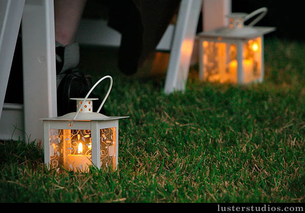 wedding pews lanterns outdoor wedding