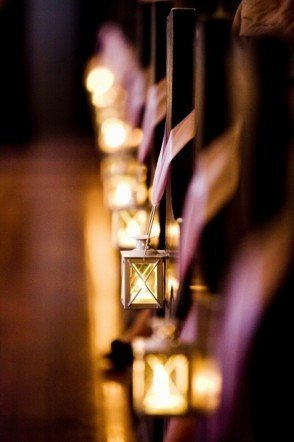 wedding pews lanterns