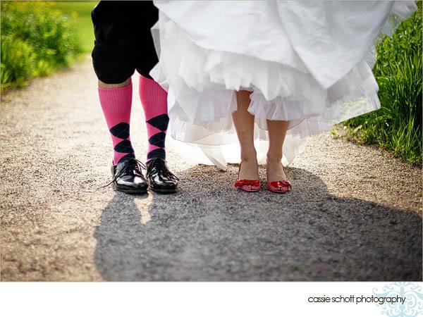 groom wearing argyle socks