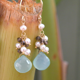 blue earrings for beach wedding