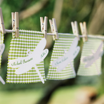 escort cards clothespins