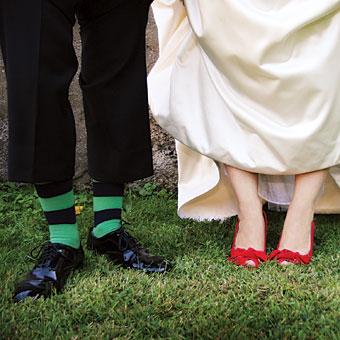 groom with striped socks