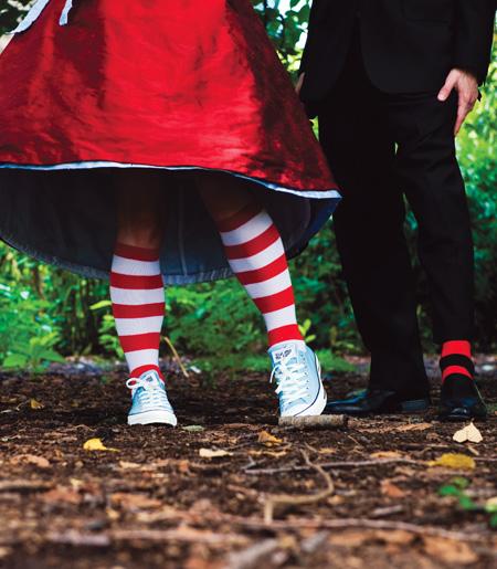 wedding couple striped socks