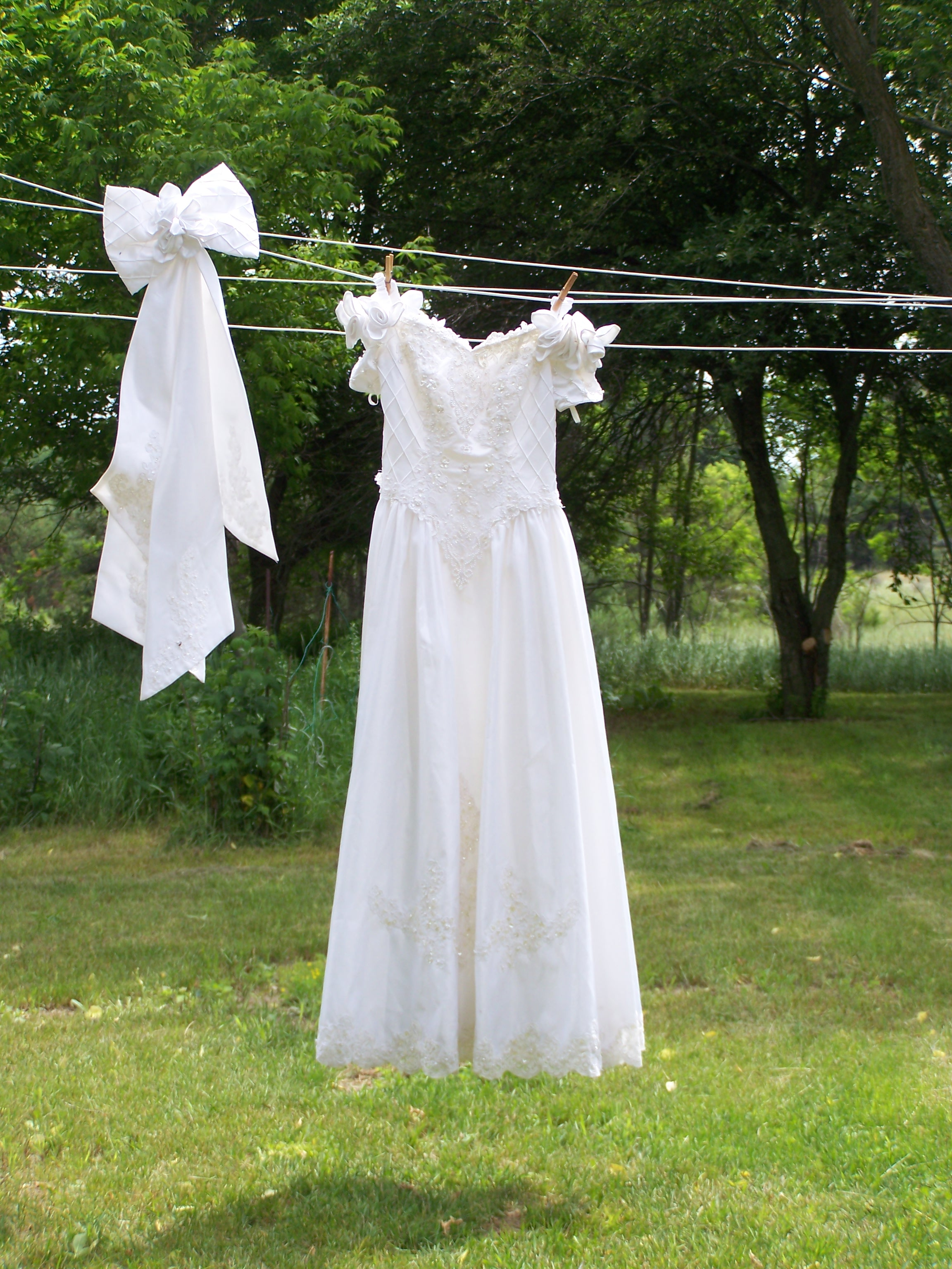 wedding dress on clothesline