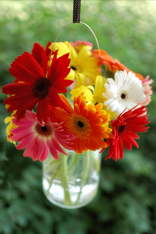 Flower Diy Bouquets In Hanging Mason Jars