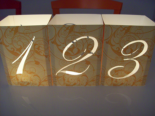 Wedding Table Numbers with Illuminated Numbers and Monogram: DIY