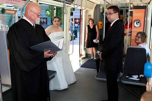 trolley wedding ceremony