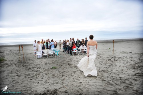 beach wedding ceremony on Washington Post