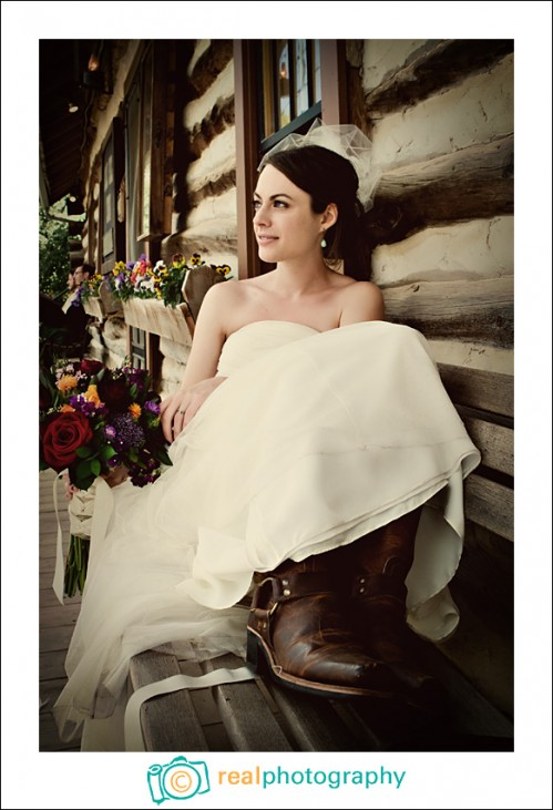 bride wearing boots