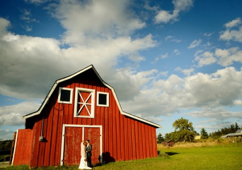 bride with barn
