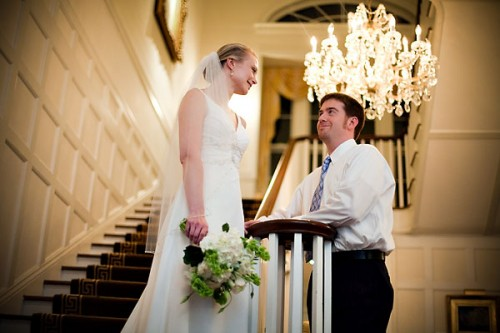 bride on staircase wedding