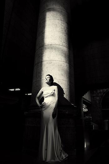 bride near pillar