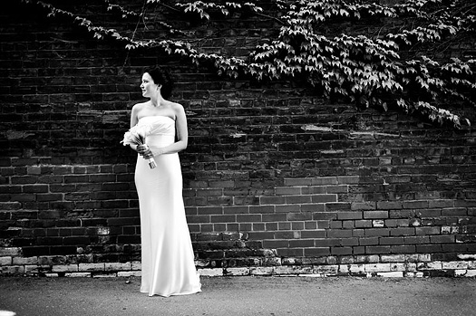 bride against wall