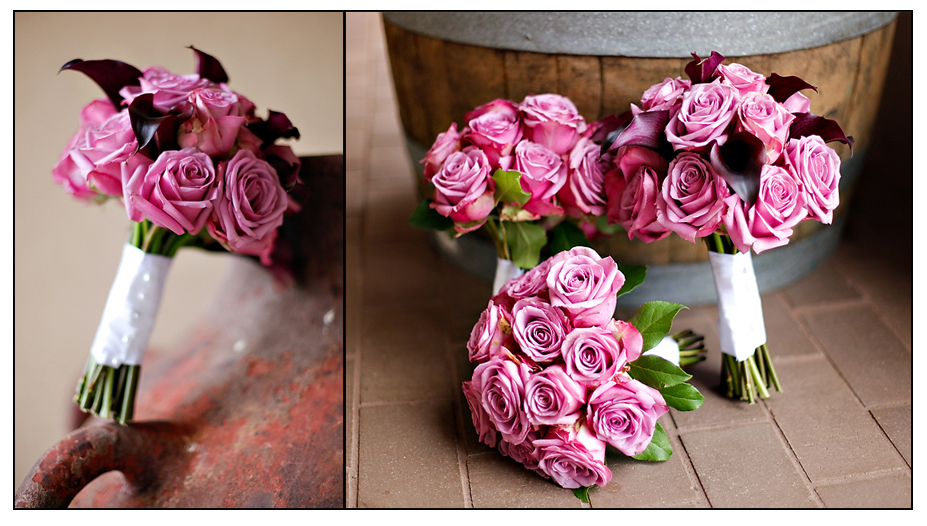 roses outdoor wedding bouquet pink