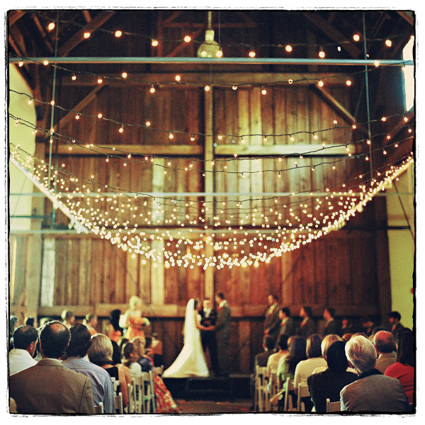 String Lights For Wedding : Pining for a Barn Reception? Barn Decor Ideas to Inspire