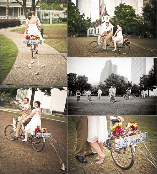 bride on bicycle